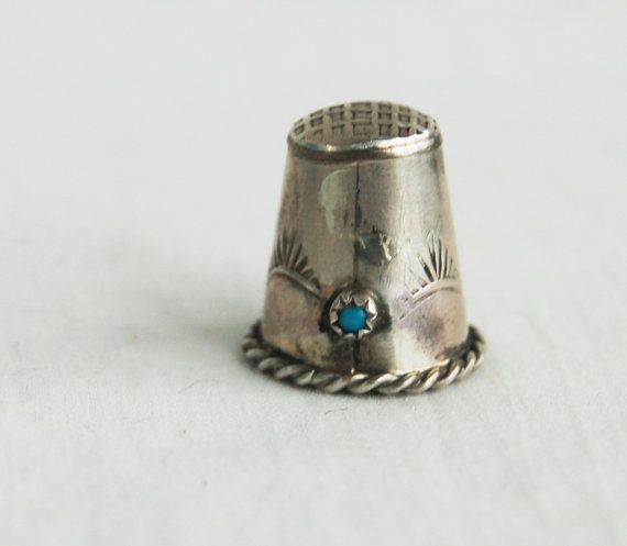 Antique Thimble Sterling Silver Turquoise Southwestern Mexico