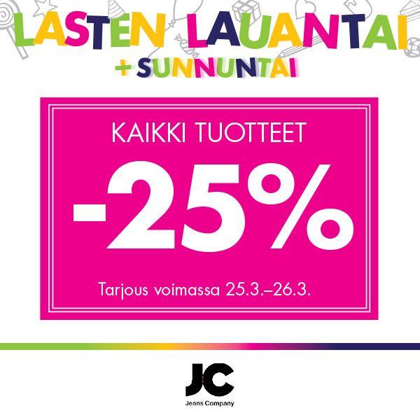 JC Kaikki tuotteet -25%. Tarjous voimassa 25.3.–26.3.