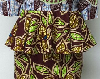 African Luxury Print Flare Hi-Lo Dress. Woven Yoke. Low back.