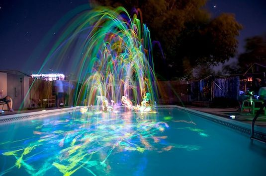 20 Cool Glow Stick Idea pool party, happy face balloon party, illuminate jack'o lantern,  Floating lit balloons""