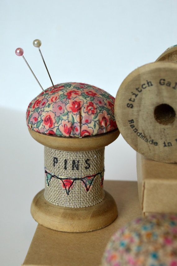 PINCUSHION wooden spool / cotton reel pincushion decorated with applique, free motion embroidery and wording.