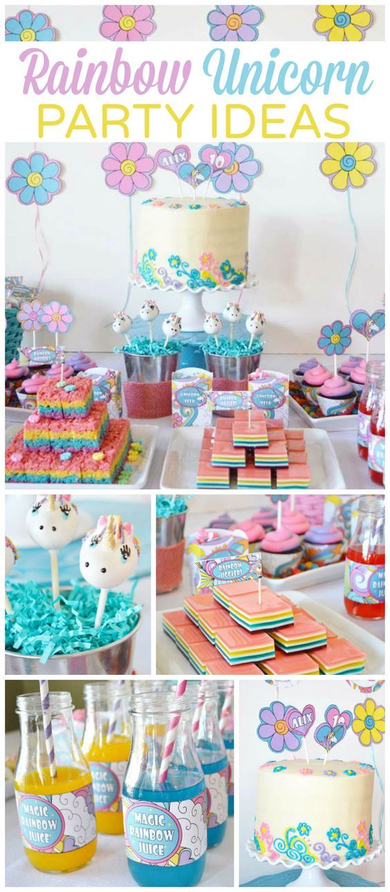 This rainbow and unicorn party is so girly and magical! See more party ideas at CatchMyParty.com!