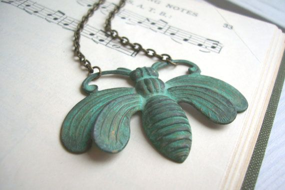 Oh Honey bee necklace - large ornate verdi gris pendant - handmade