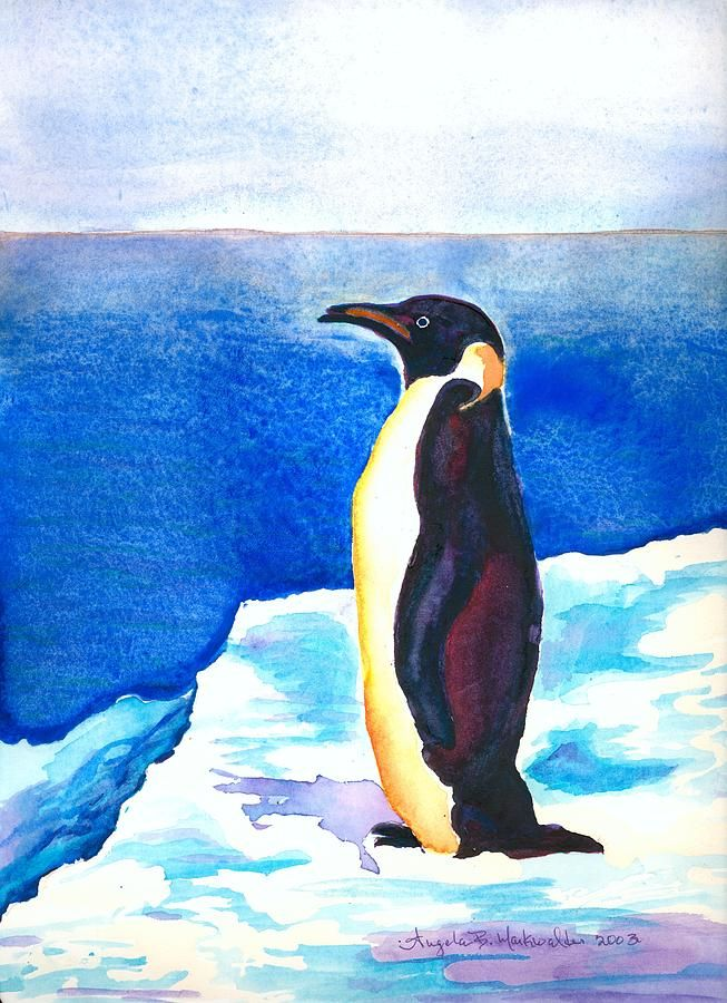 Penguin Painting by Angela Markwalter - Penguin Fine Art Prints and Posters for Sale