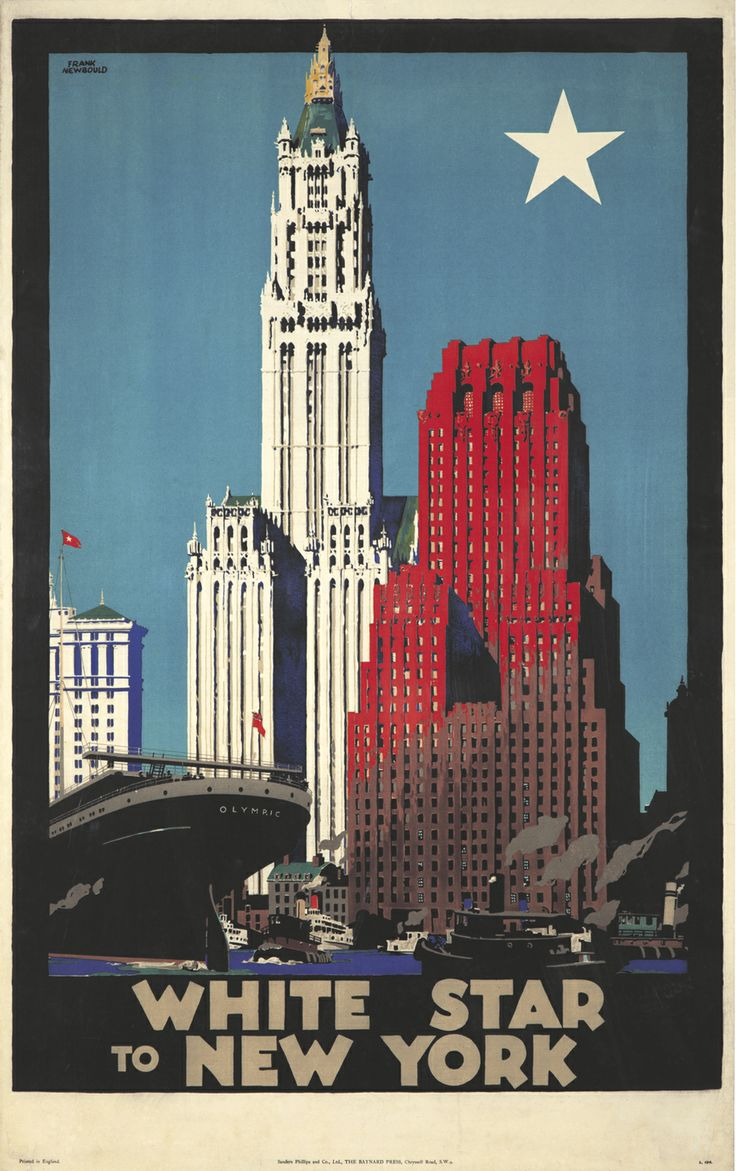 USA NEW YORK - #Vintage #Travel White Star to New York by Frank Newbould. 1929
