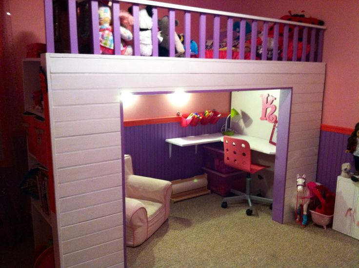 Girls loft bed with desk/reading nook that my sweet hubby built for her