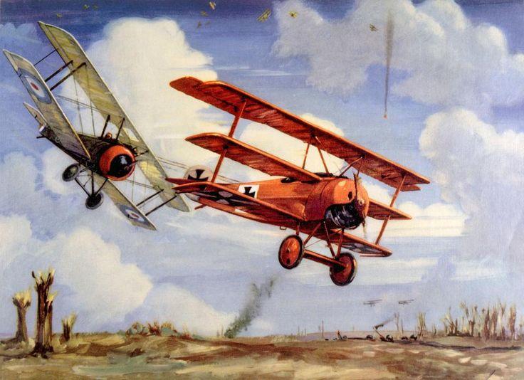 Richthofen mit seinem roten Fokker-Dreidecker im Luftkampf mit der Sopwith Camel von Captain A. Roy Brown