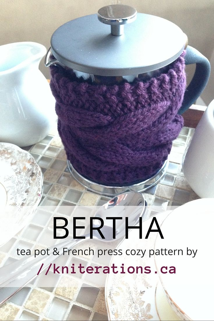 BERTHA tea pot & French press cozy knitting pattern by //kniterations