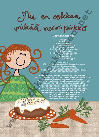 """Staattinen reseptikortti +kuori """"Porkkanakakku"""""""