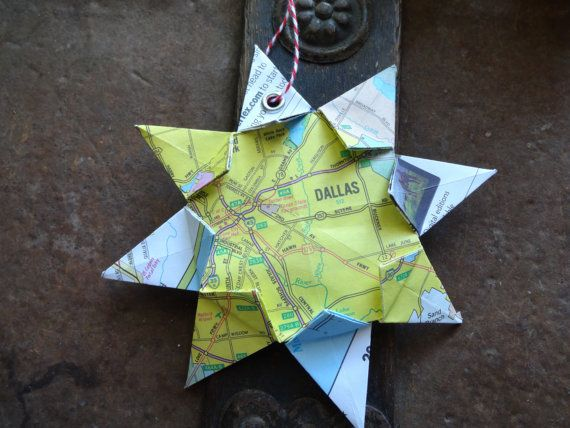Dallas, Texas! This handmade origami map ornament is a perfect gift for any occasion. Whether it be Christmas, a birthday, wedding, graduation,