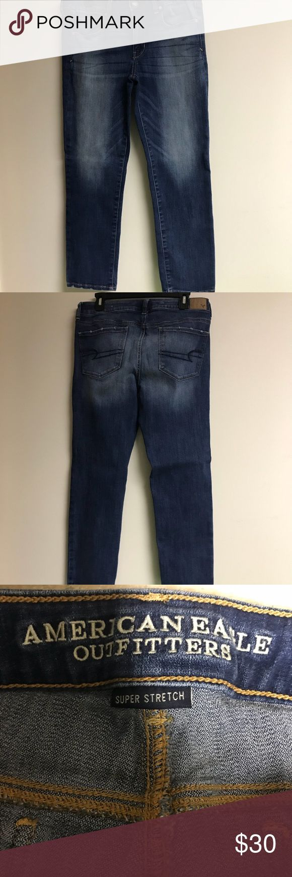 American Eagle 12 Short Super Stretch Skinny Jeans Brand new without tags. Washed but never worn! Excellent condition. No holes, no stains, no flaws of any kind. Check my other items for bundles to save on shipping! Make a bundle of several items and only pay shipping once! Comes from a smoke-free home. I ship all items within 24 hours! I'll be listing over 100+ items today, so keep checking back for new listings! American Eagle Outfitters Jeans Skinny