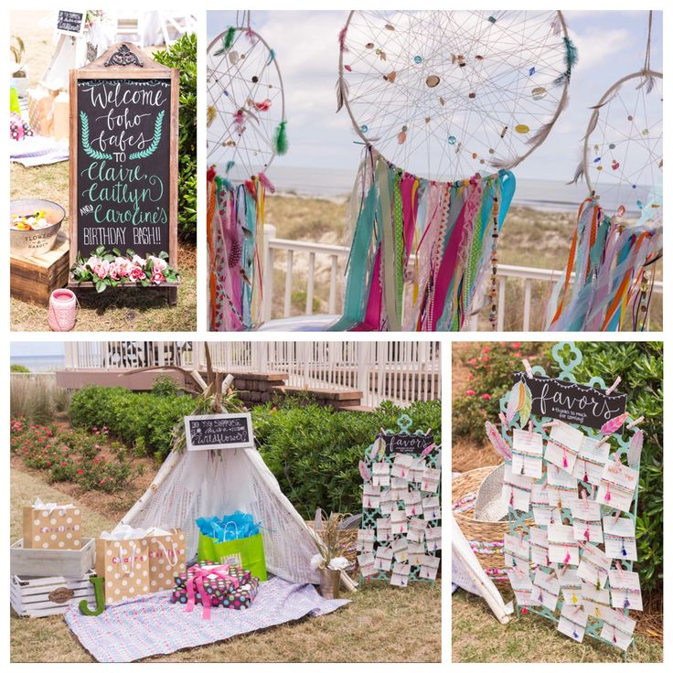 Boho Beach Bash | CatchMyParty.com bohemian beach backyard birthday party dreamcatcher teepee bracelet favors welcome chalkboard sign