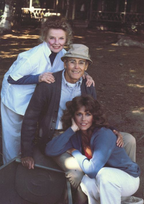 """Kate Hepburn, father and daughter Fonda's~""""On Golden Pond"""""""