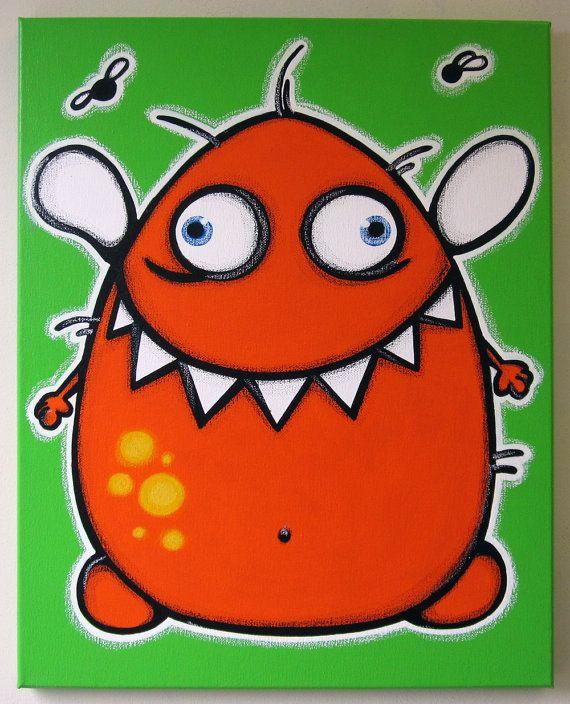 Naranja pintura original del monstruo -16 x 20 volando sobre lienzo para habitaciones de niños o guardería, arte monstruo, monstruo de pintura