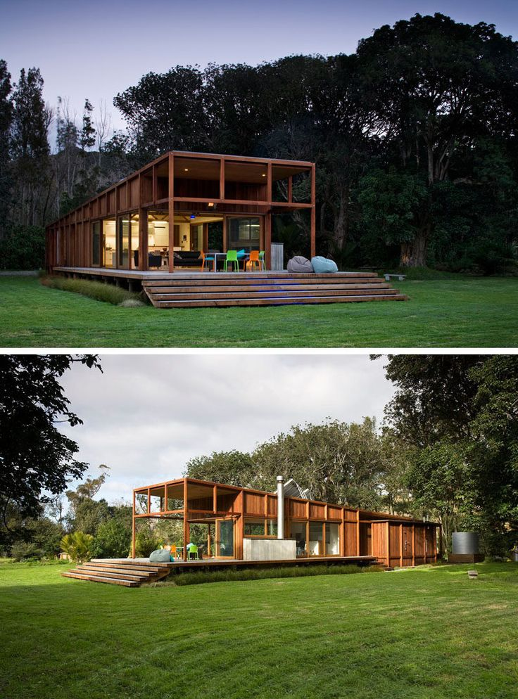 15 Single Story Modern Houses | High ceilings and large windows make this single story house feel open and airy and more spacious than it actually is.