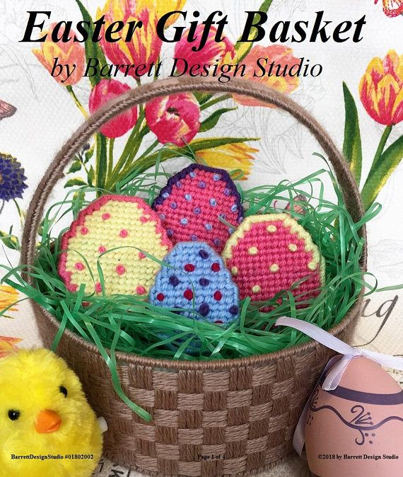 Plastic Canvas Book Easter Basket and Eggs Digital Pattern