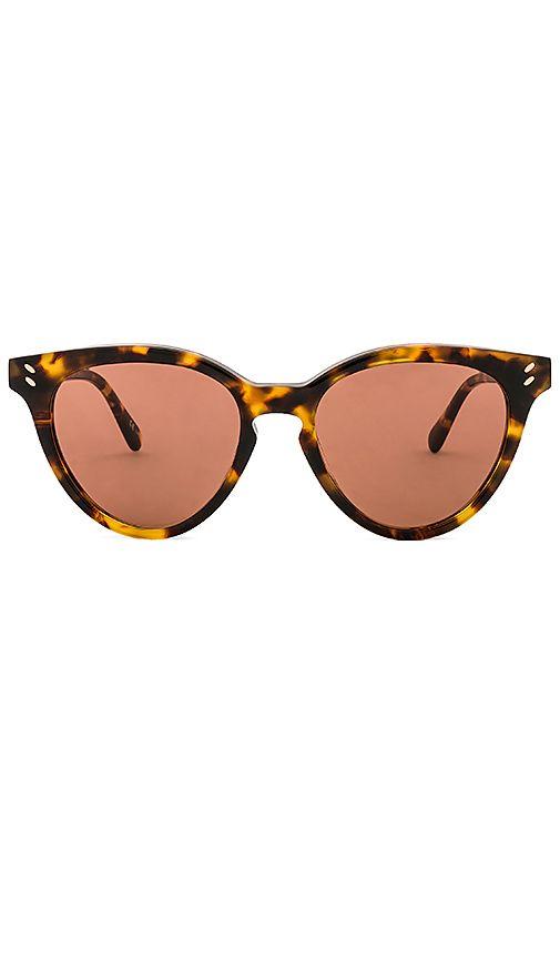 aa4f5c67ac Stella McCartney Round Cat Eye Acetate in Shiny Medium Havana   Brown