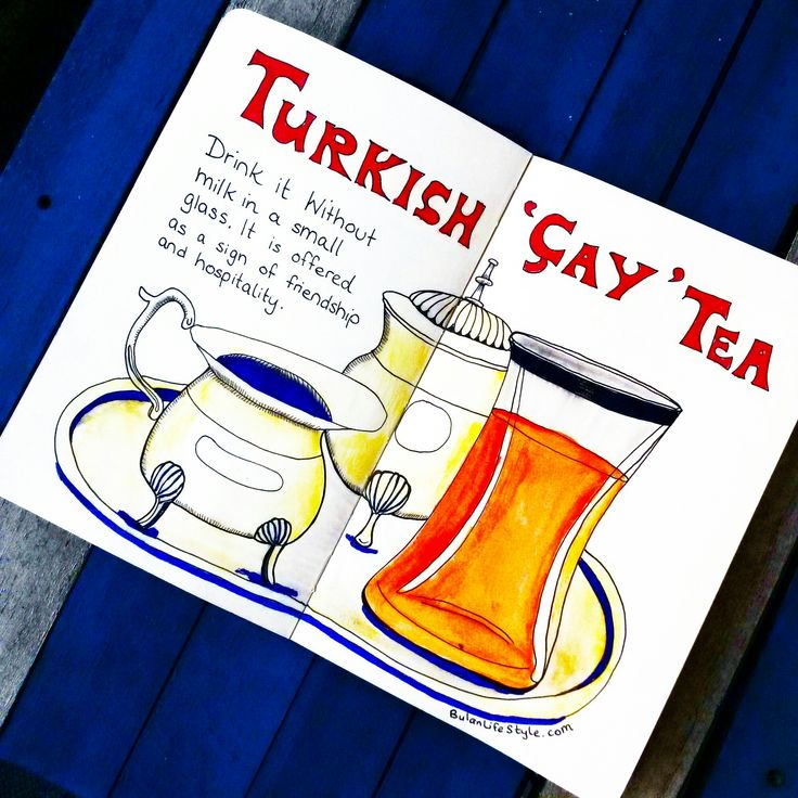 Sketch of the day no 574 in my moleskine art journal: Turkish Cay / tea.