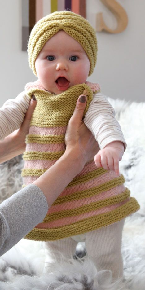Knit baby dress, Free pattern!!