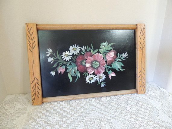 Painted Black Wood Tray 1950 S Hand Painted Flowers On Etsy Hand Painted Flowers Hanging Wall Decor Painted Trays