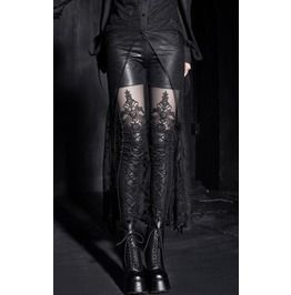 Gothic Embossed Wet Look Lace Up Leggings