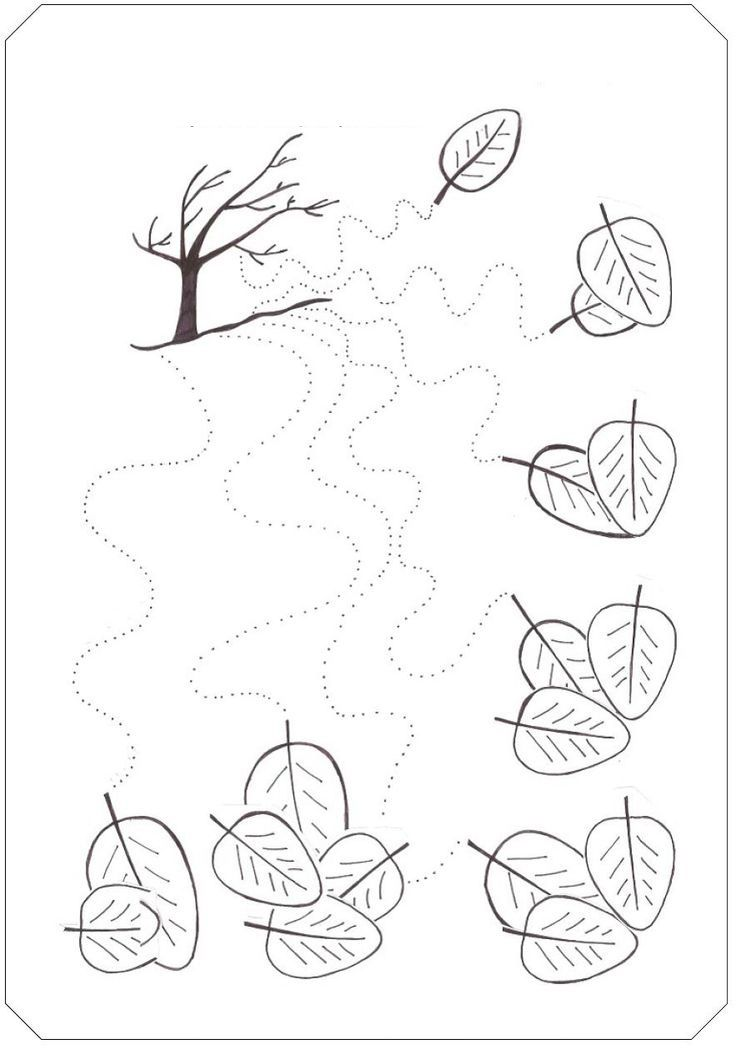 Fall tree trace line worksheet - Wavy lines