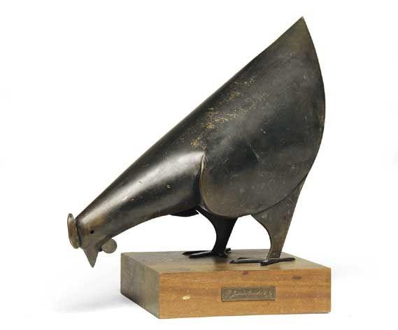 """George JAHOLKOWSKI """"Black Hen"""" (""""Chicken""""), 1962 - welded sheet copper http://www.art-archives-southafrica.ch/images/Jaholkowski_Chicken_1962.jpg"""