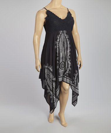 Another great find on #zulily! Black Crocheted Handkerchief Dress - Plus #zulilyfinds