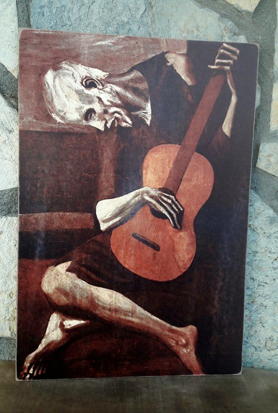Picasso painting print on wood, picasso old quitarist,,,The Old Guitarist,art print,woodprint