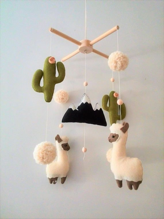 Llama Cactus Nursery Mobile, Baby Mobile Felt Cactus Mobile Alpaca, Nursery decor, Mobile Boho, Nursery Decor Felt Mobile, Baby Crib Mobile – Laura