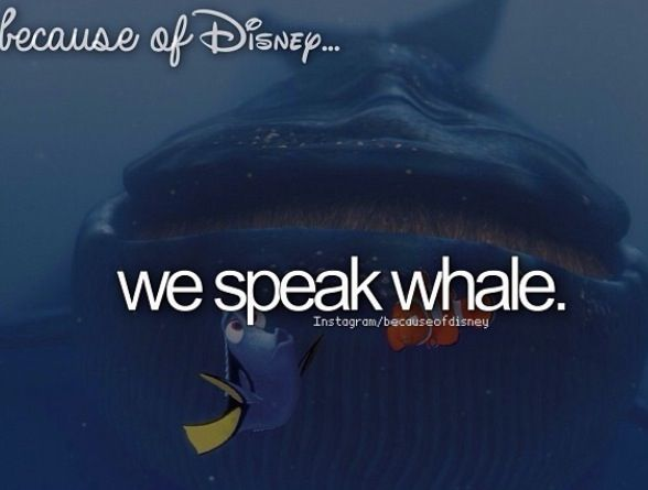 """Ohhh ohh I can speak whale!! Ooohhhkkaakwwwaahaa,"" Dory, Finding Nemo.                                                          Because of Disney"