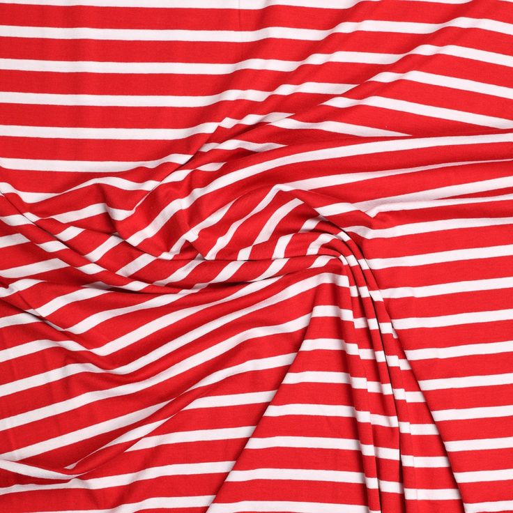 rood stretch tricot met witte streep
