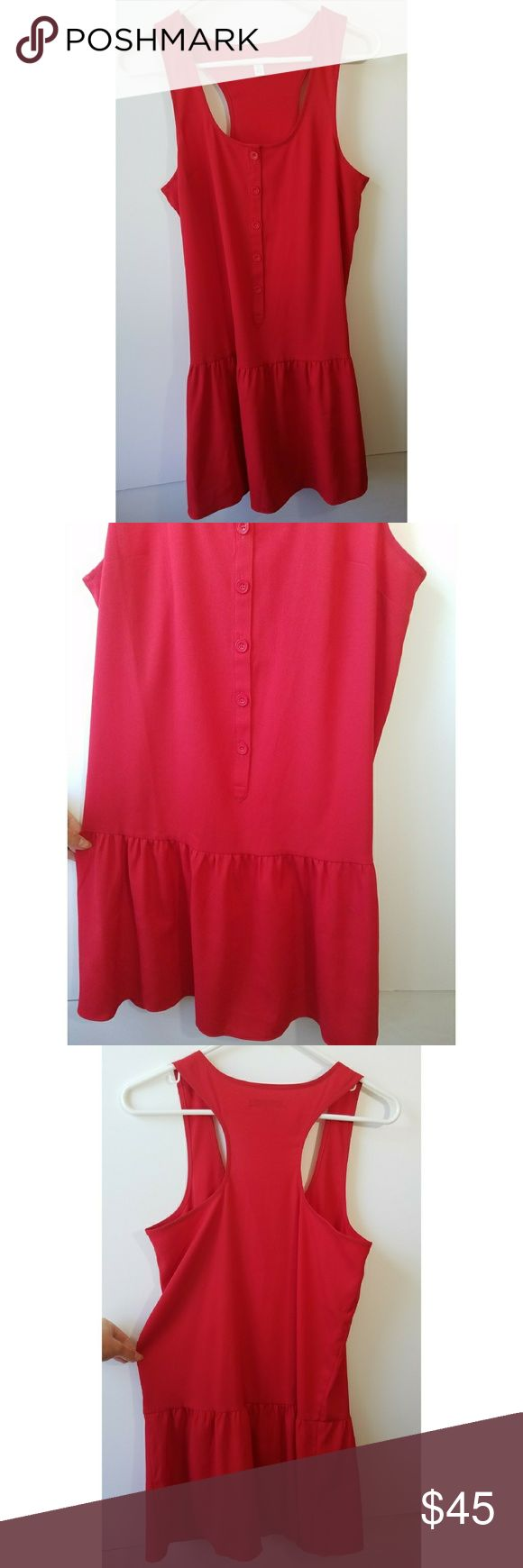 American Eagle Outfitters Vibrant Red Dress * In Brand New Condition Without Tags   * Gorgeous Knock-Out Red Coloring With Button Down Front Details And Subtle Flare At Bottom American Eagle Outfitters Dresses