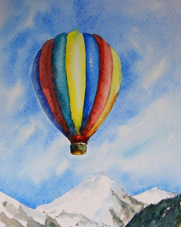 Balloon #aerostat#watercolor#sky#mountains#colorfull#balloon#clouds#snow#blue#воздушныешары#небо#горы#акварель#снег