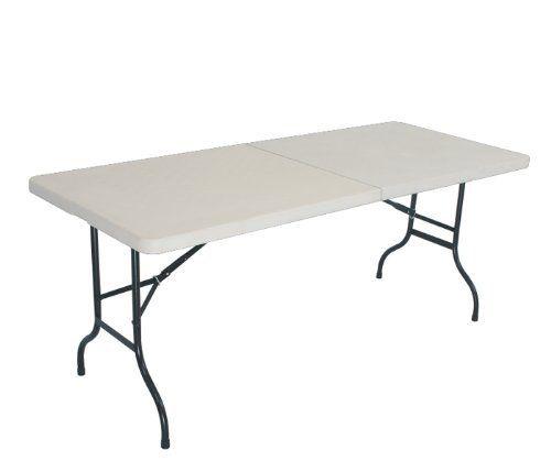 new medium folding table white 6u0027 feet poly resin by edmbg - 6 Foot Folding Table