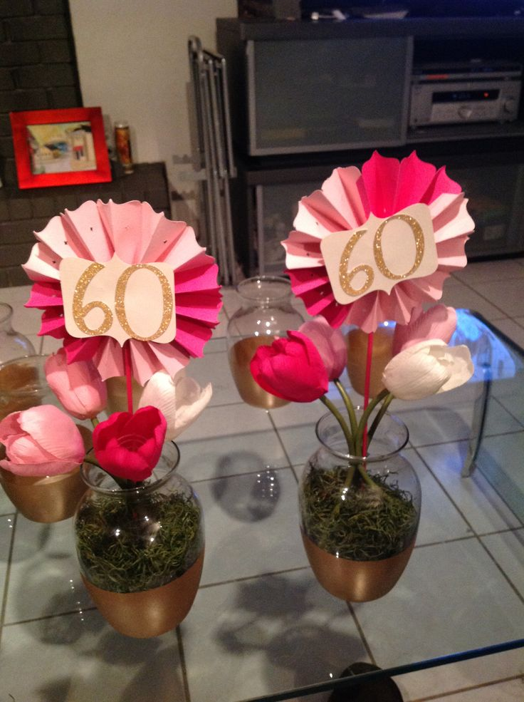 60th Birthday Centerpieces Rosettes Made With Cricut