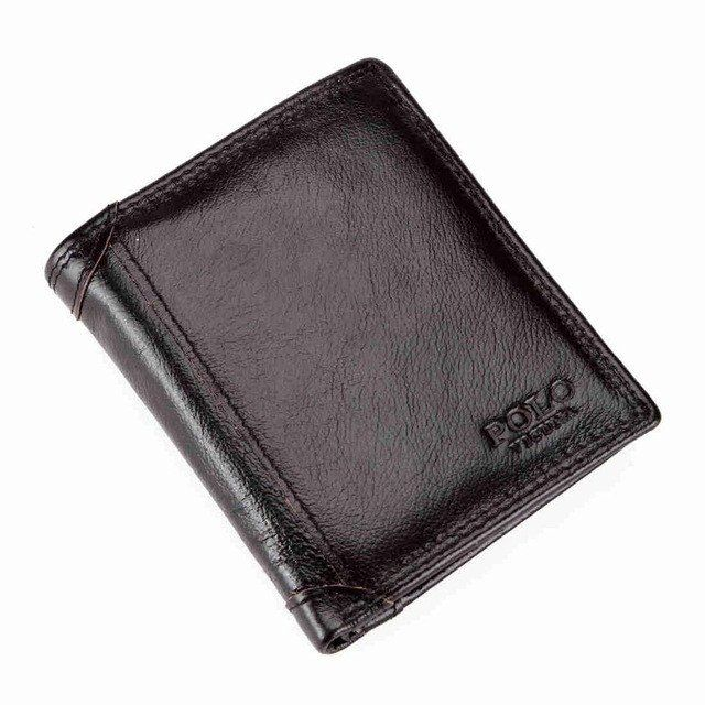 Large Capacity Genuine Leather Men Wallet Coin Pocket Waxy Short Wallet