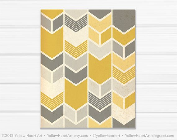 Graphic Fine Art Chevron Geometric Print in Mustard and Gray / 8x10 / by Yellow Heart Art