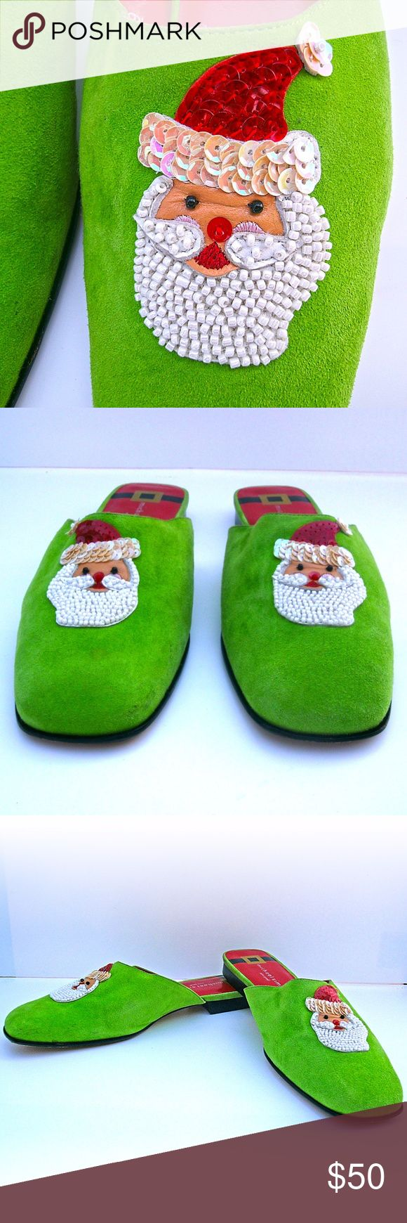 """Michael Simon Christmas Santa Mules Slides Shoes Michael Simon New YorkChristmas Santa Mules Slides Shoes Size 9 - EUC!  Green suede leather upper Sequin and beaded Santa Claus on vamp Leather soles Women's US Size: 9 M  Insoles length from heel to toe: 10.5"""" Outsoles width: 3.5"""" (at wides point) Approx. heel height: 0.5""""  Condition: Pre-owned, EXCELLENT gently used condition. Free of stains, odor and damages. Light creasing. The insoles and outsoles are clean with minimal signs of wear…"""