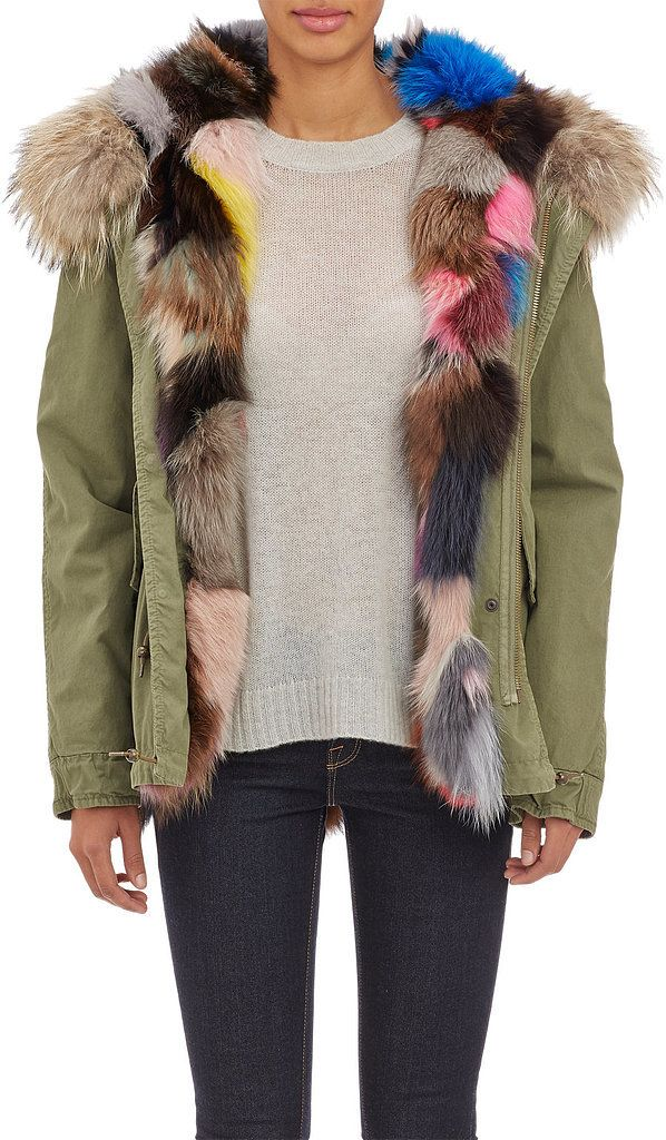 """Mr. & Mrs. Furs Reversible Fur Parka ($4,970) """"When the temperature plummets, sling on a reversible, ultraversatile fur parka: great for riding the bus or swinging from a chandelier."""" — Simon Doonan"""