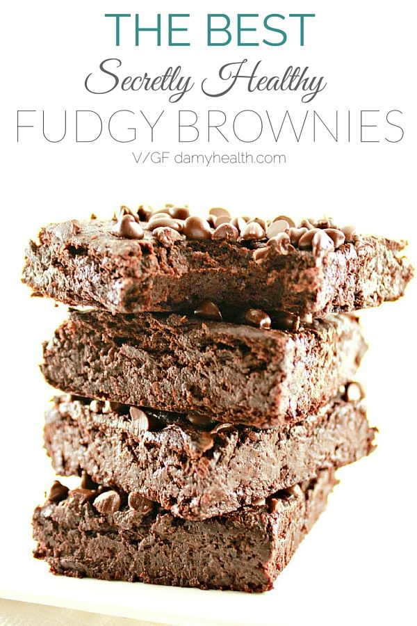 """Stop everything - The recipe of the year has arrived. You are going to want to save this!!! This """"secretly healthy"""" recipe will shock and please everyone in your family (I am talking the junk food lover, the kids and the Hubby)  These vegan brownies are fudgy, rich, chewy with a perfect crust.  Not only are these brownies absolutely divine, their ingredients are kind of shocking. These brownies are dairy free, peanut free, grain free, bean free"""