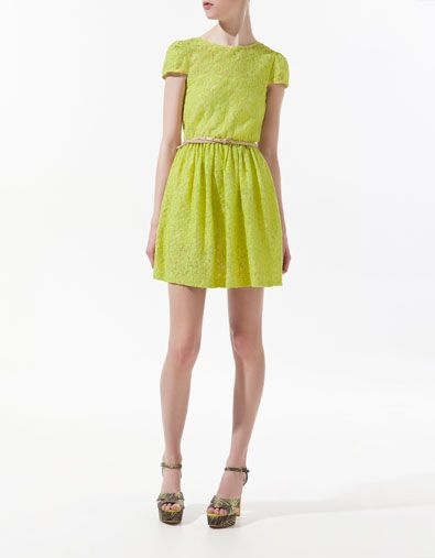 LACE DRESS WITH CROSSOVER AT THE BACK - Dresses - Woman - ZARA Canada @Metropolisatmet #Findwhatyoulove $59.99: Spring Dresses, Back Dresses, Zara Lace, Green Lace Dresses, Color, Yellow Lace Dresses, Limes Green, Skater Dresses, Styles Inspiration