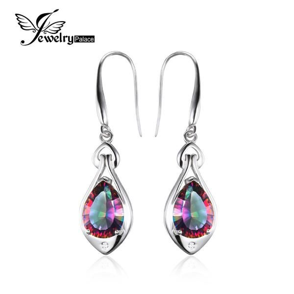 FuzWeb:Jewelrypalace Water Drop 6.8ct Rainbow Fire Mystic Topaz Dangle Earrings Pure 925 Sterling Silver New Fine Jewelry For Women
