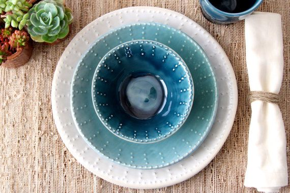 RESERVED Ashley & Dustin's Wedding Registry - Bowl - Deep Sea Blue - Ocean Blue Ombré - MADE to ORDER