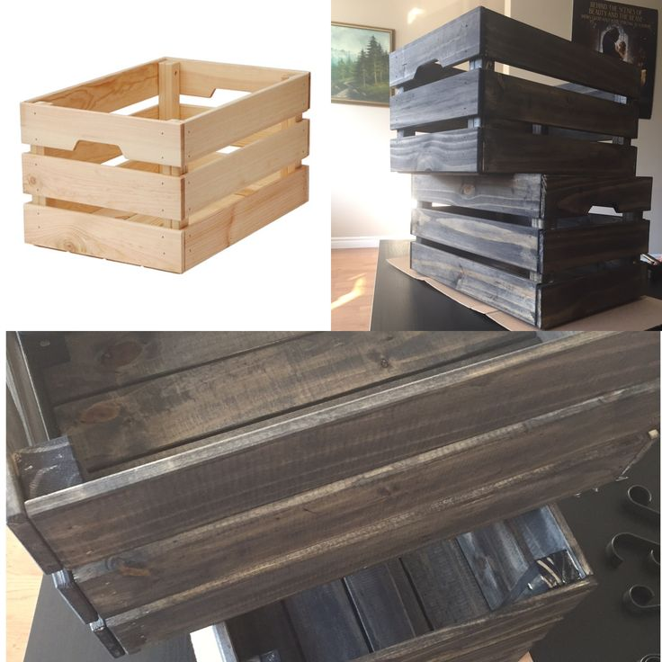 Take an average Ikea crate... give it a little wood stain... and make it look like barn wood!
