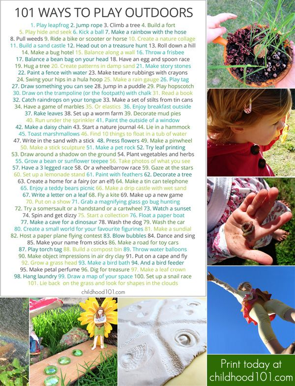 101 Things To Do Outdoors: A Fun Printable Poster