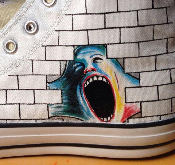 Custom Pink Floyd music themed art work on Converse