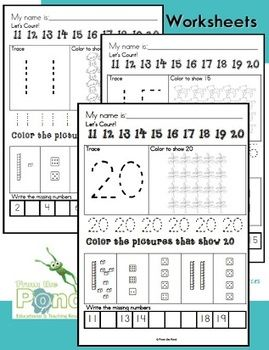 Number Worksheets Kindergarten Grade One Learn Numbers to 20