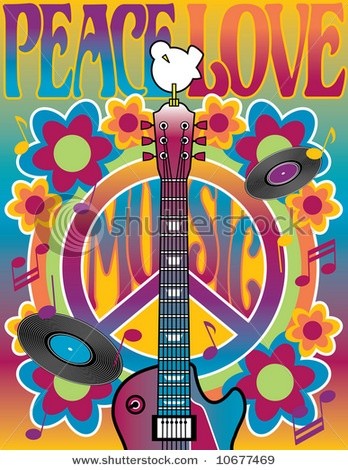 Peace Love Music illustration of a guitar, peace symbol and dove. A tribute to the Woodstock Music and Art Fair of 1969