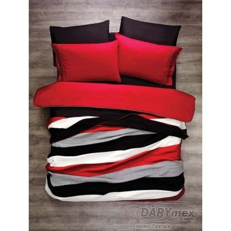 red, black cotton  bedlinen with red, black, grey, white stripe blanket more on darymex.com and sklep.darymex.pl